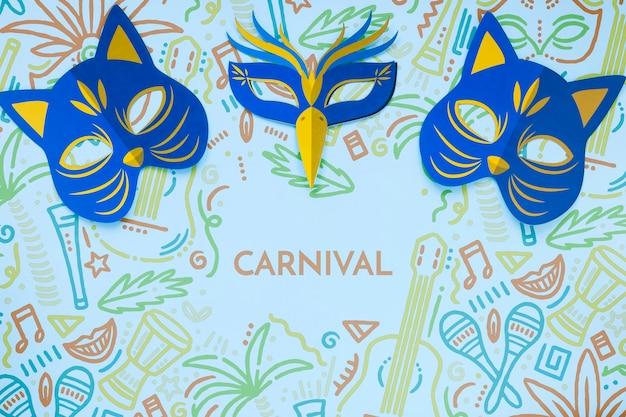 Vista superior de las máscaras de gato de carnaval brasileño PSD gratuito