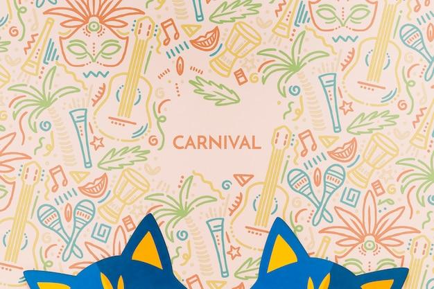Vista superior de máscaras de gato de carnaval PSD gratuito