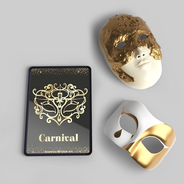 Vista superior de máscaras y maquetas de carnaval veneciano PSD gratuito