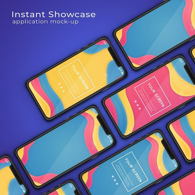 Visualizzazione di applicazioni moderne mock up del telefono Psd Premium