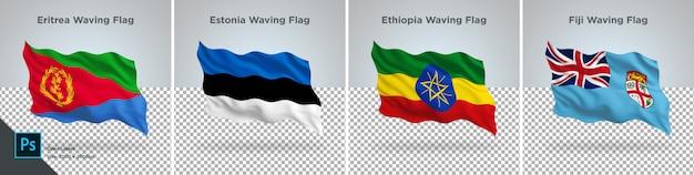 Vlaggen set van eritrea, estland, ethiopië, fiji vlag ingesteld op transparant Premium Psd