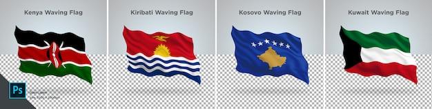 Vlaggen set van kenia, kiribati, kosovo, koeweit vlag ingesteld op transparant Premium Psd