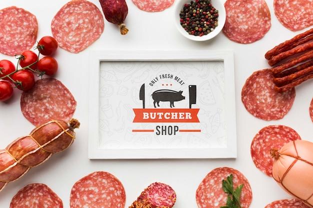 Vleesproducten met wit frame mock-up Gratis Psd