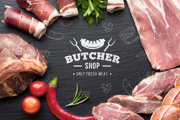 Vleesproducten met zwart model als achtergrond Premium Psd