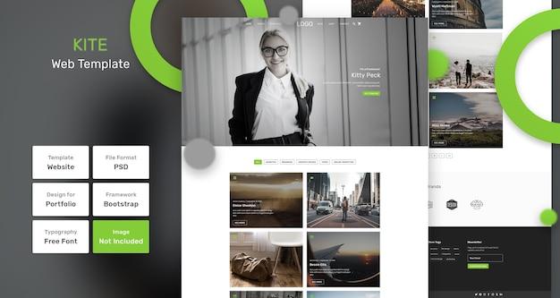 Vlieger portfolio websjabloon Premium Psd