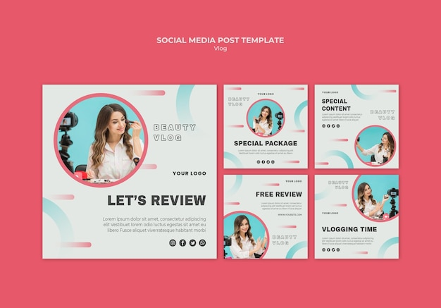 Vlog concept social media postsjabloon Gratis Psd