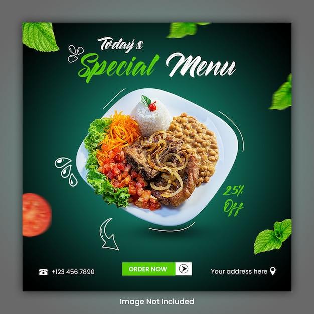 Voedsel culinaire sociale media postsjabloon Premium Psd