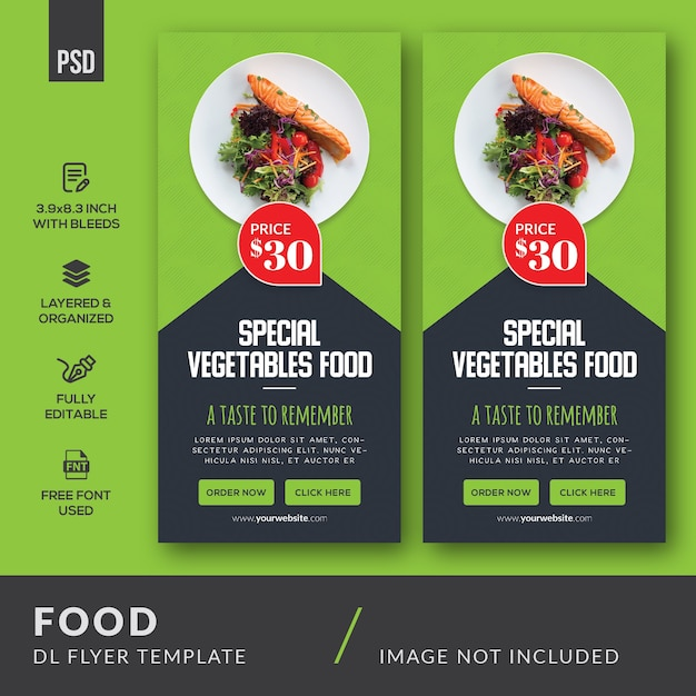 Voedsel dl flyer-sjabloon Premium Psd