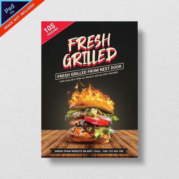 Voedsel hamburger stijl flyer sjabloon Premium Psd