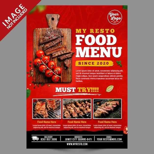 Voedsel menusjabloon poster Premium Psd
