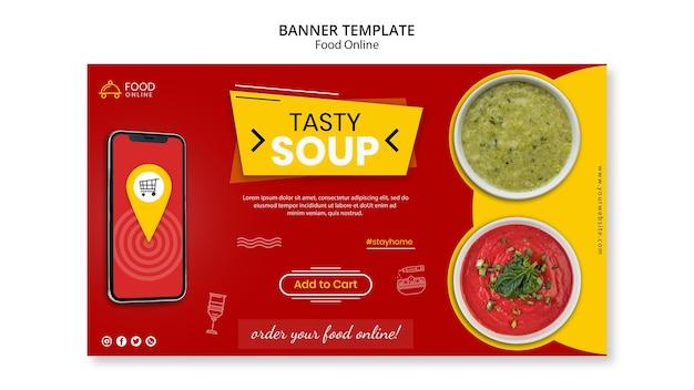 Voedsel online concept banner mock-up Gratis Psd
