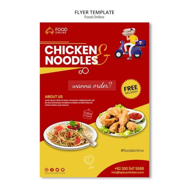 Voedsel online concept flyer mock-up Gratis Psd