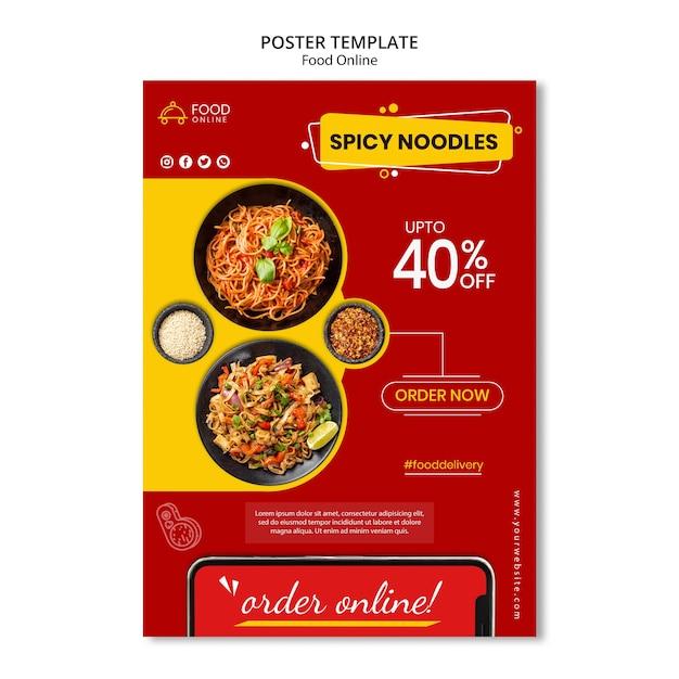 Voedsel online concept poster mock-up Gratis Psd