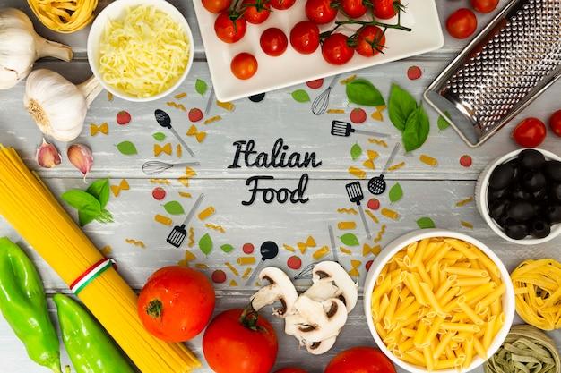 Voedselachtergrond met italiaanse ingrediënten Gratis Psd