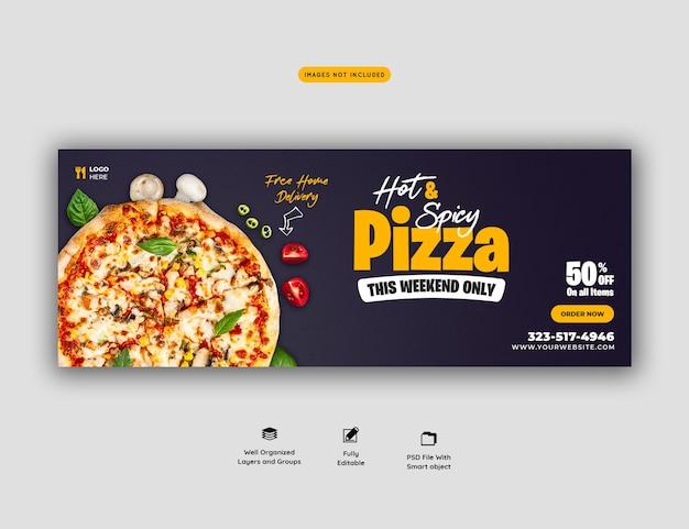 Voedselmenu en heerlijke pizza sociale media voorbladsjabloon Premium Psd