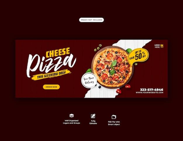Voedselmenu en heerlijke pizza voorbladsjabloon voor spandoek Gratis Psd