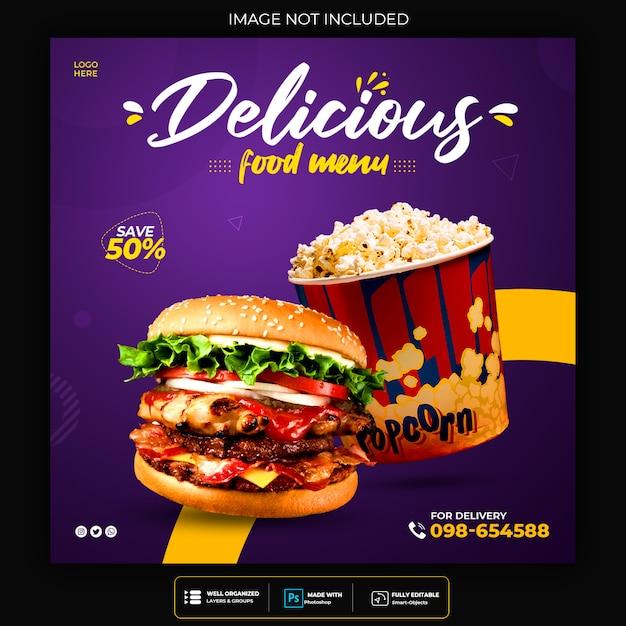 Voedselmenu en restaurant sociale media-sjabloon voor spandoek Premium Psd