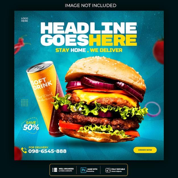 Voedselmenu en restaurantburger sociale media postsjabloon Gratis Psd