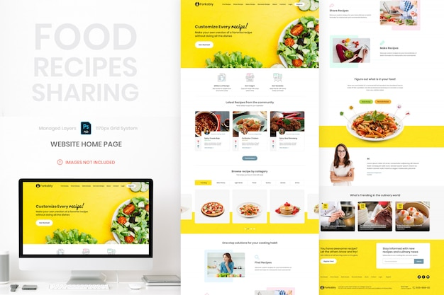 Voedselrecepten website homepage paginasjabloon delen Premium Psd