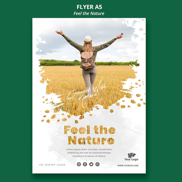 Voel de natuur sjabloon flyer Premium Psd