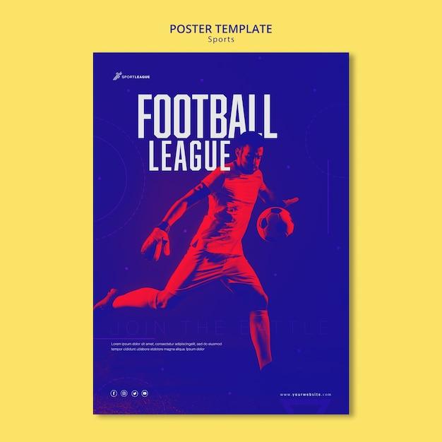Voetbal competitie poster sjabloon Gratis Psd