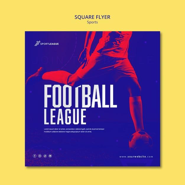 Voetbal competitie vierkante sjabloon folder Gratis Psd