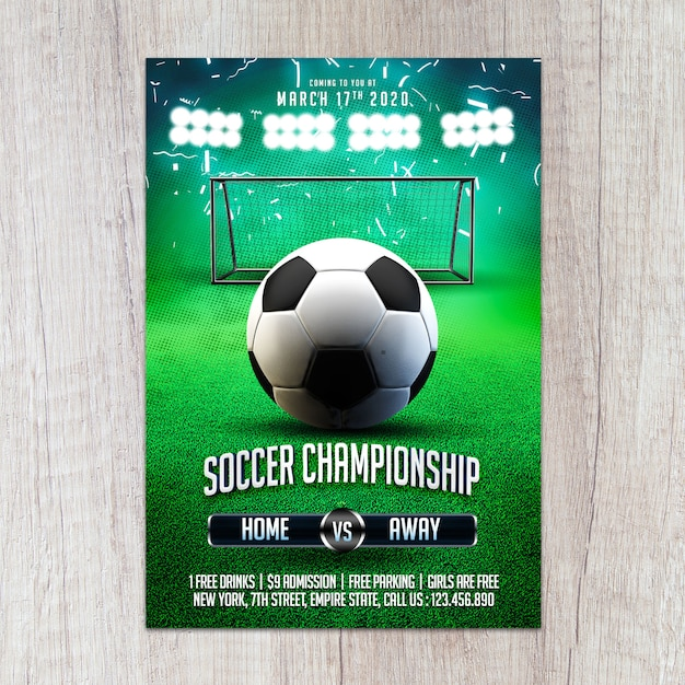 Voetbal kampioenschap sjabloon folder Premium Psd