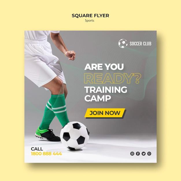 Voetbalclub trainingskamp vierkante flyer Gratis Psd