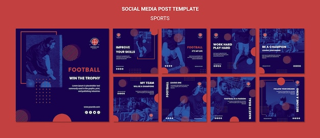 Voetbalspeler social media posts sjabloon Gratis Psd