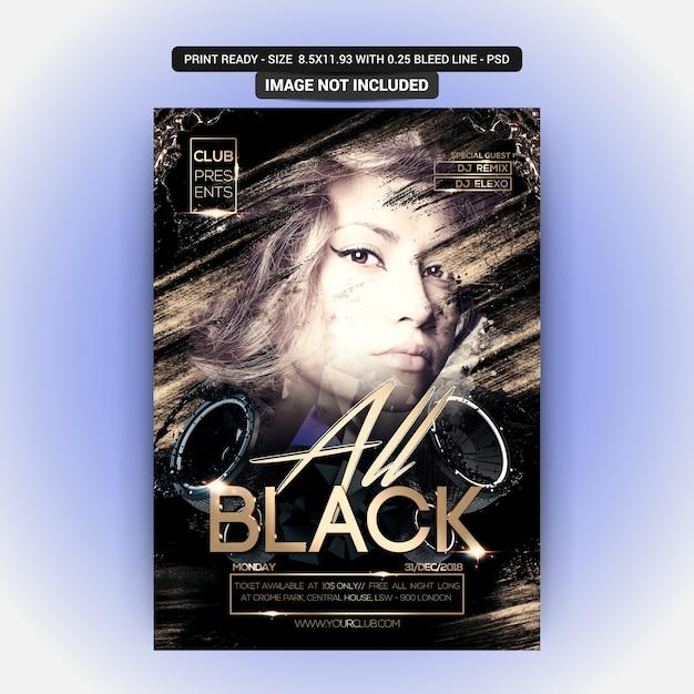 Volantino all black night party Psd Premium