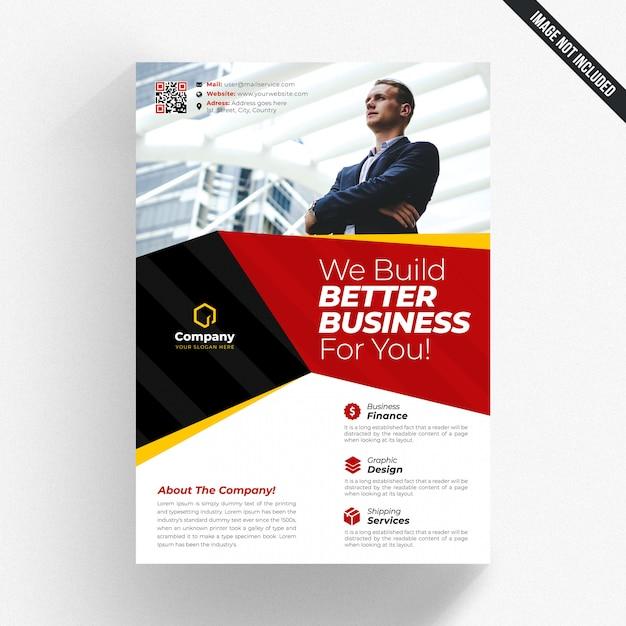 Volantino aziendale bianco con dettagli gialli e rossi Psd Premium