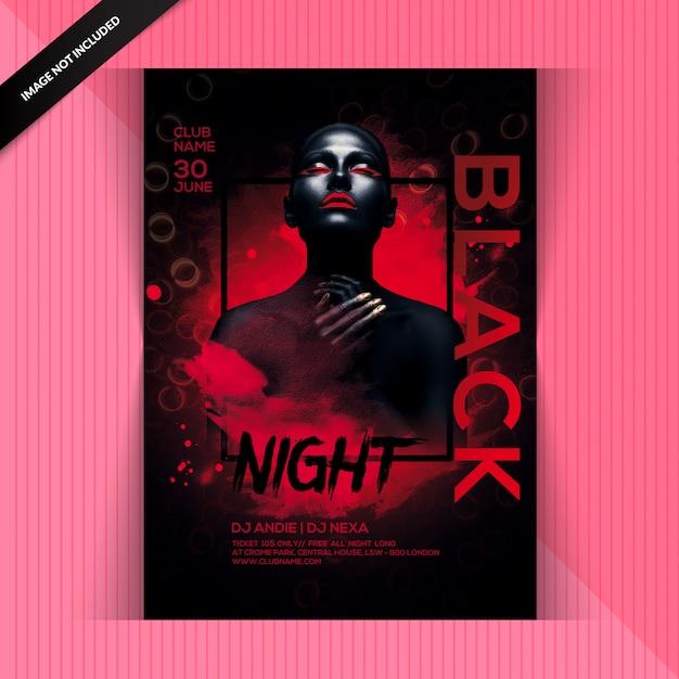 Volantino black night party Psd Premium