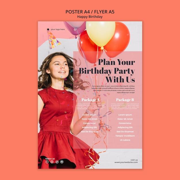 Volantino di buon compleanno con palloncini azienda ragazza Psd Gratuite