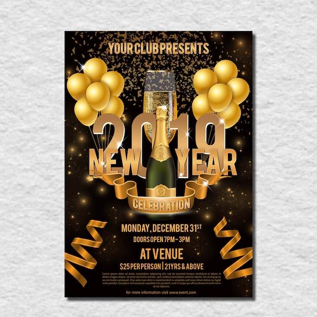 Volantino di celebrazione golden new year Psd Premium