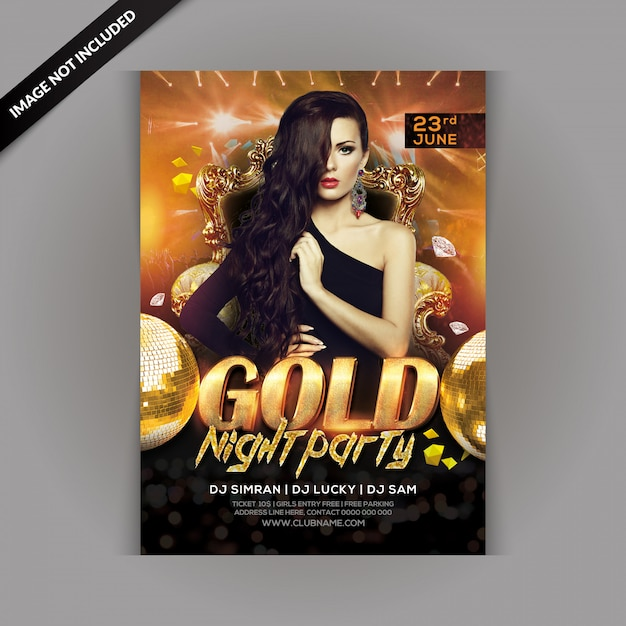 Volantino di festa di notte d'oro Psd Premium
