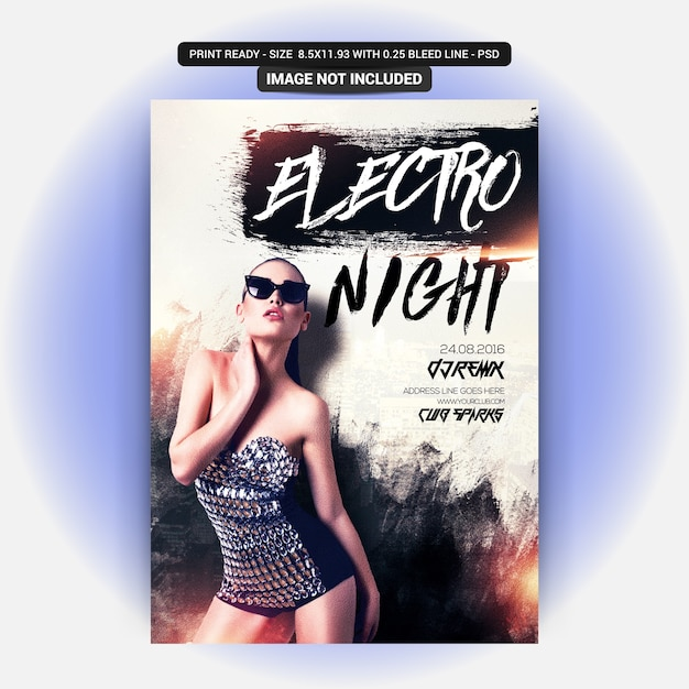 Volantino electro night party Psd Premium