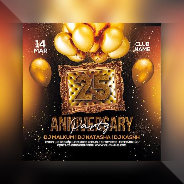 Volantino festa 25 anniversario Psd Premium