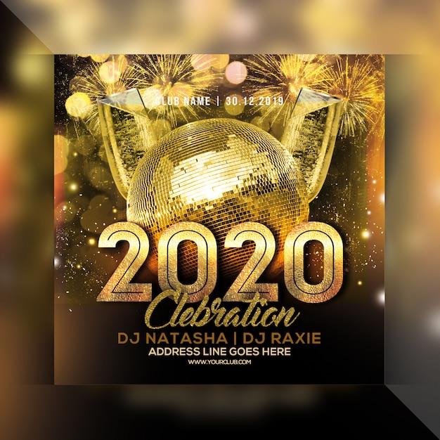 Volantino festa celebrazione anno nuovo 2020 Psd Premium