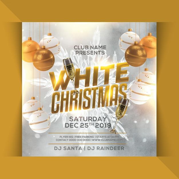 Volantino festa di natale bianco Psd Premium
