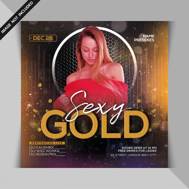 Volantino festa notte oro sexy Psd Premium