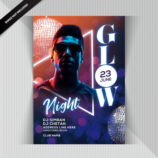 Volantino glow night party Psd Premium