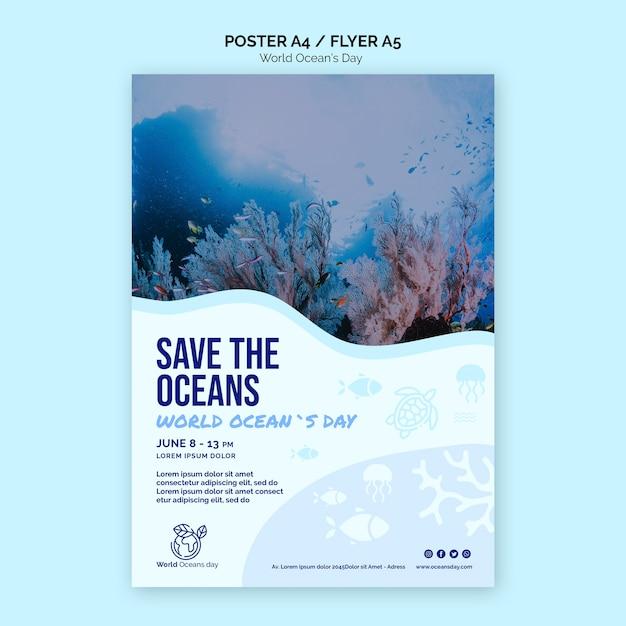 Volantino modello di giornata mondiale dell'oceano Psd Gratuite