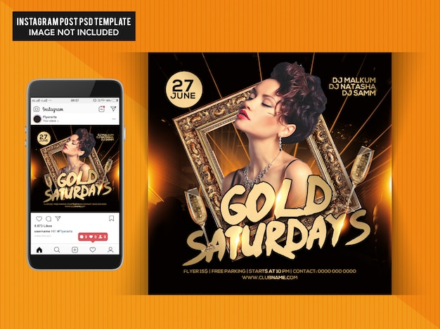 Volantino party gold saturdays Psd Premium