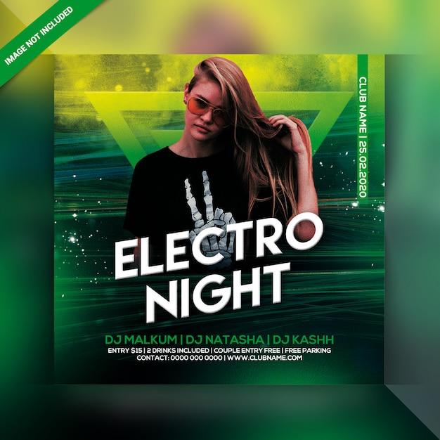 Volantino per festa electro night Psd Premium
