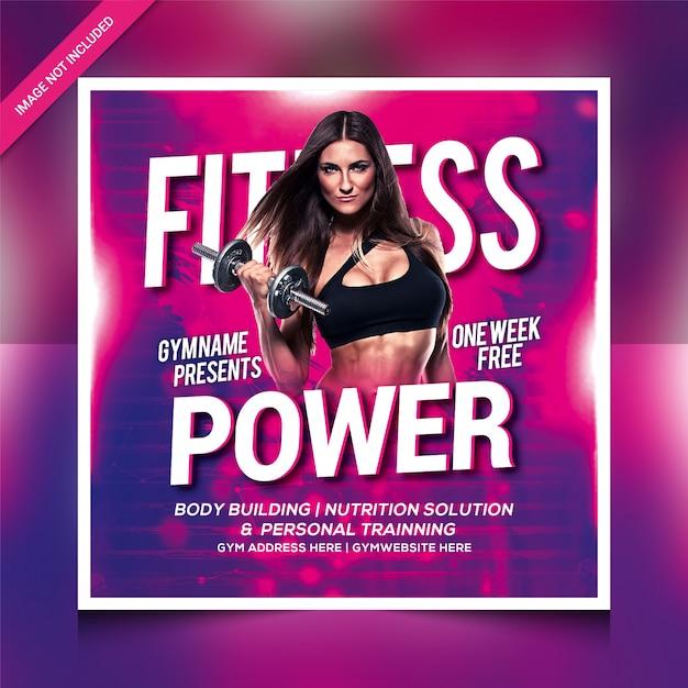Volantino per palestra di potenza fitness o modello di post instagram Psd Premium