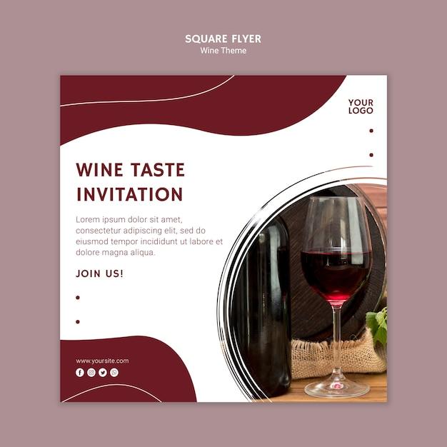 Volantino quadrato di invito gusto vino Psd Gratuite