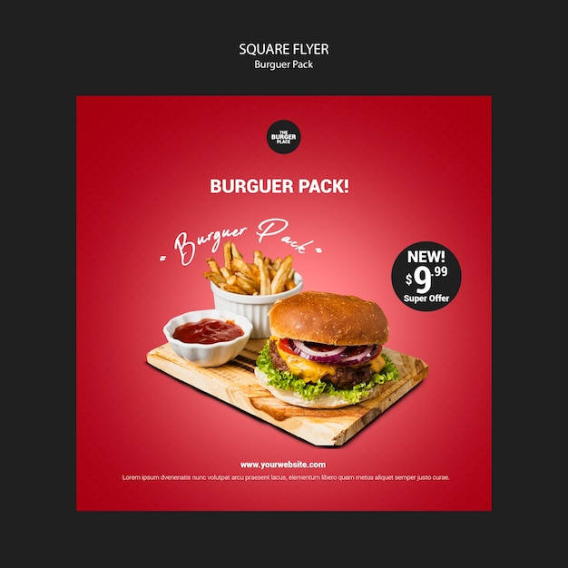 Volantino quadrato per ristorante di hamburger Psd Gratuite