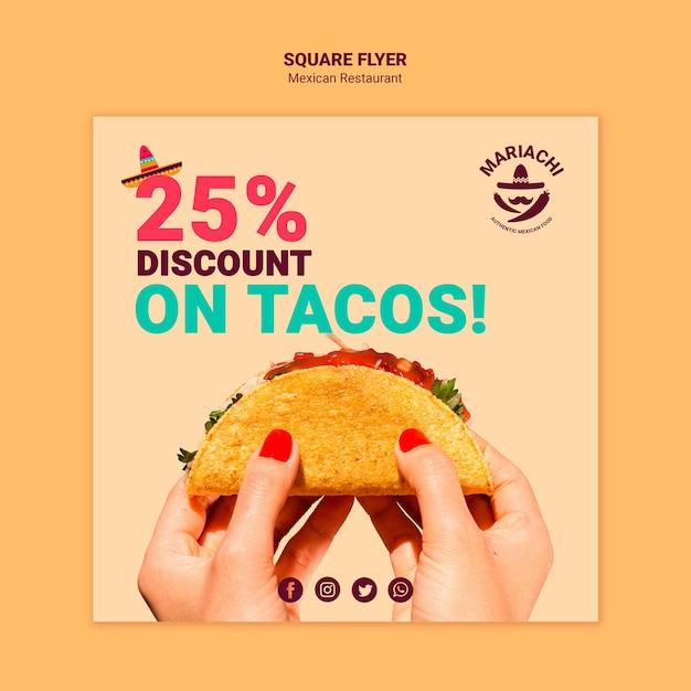 Volantino quadrato ristorante messicano piatti tradizionali Psd Gratuite