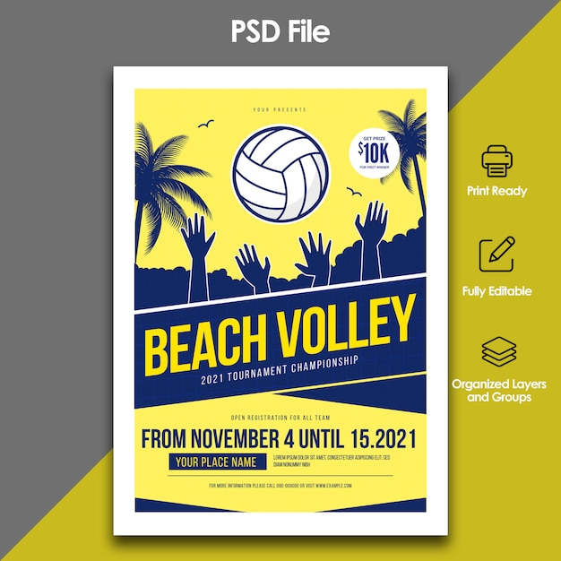 Volleybal strand sjabloon folder Premium Psd