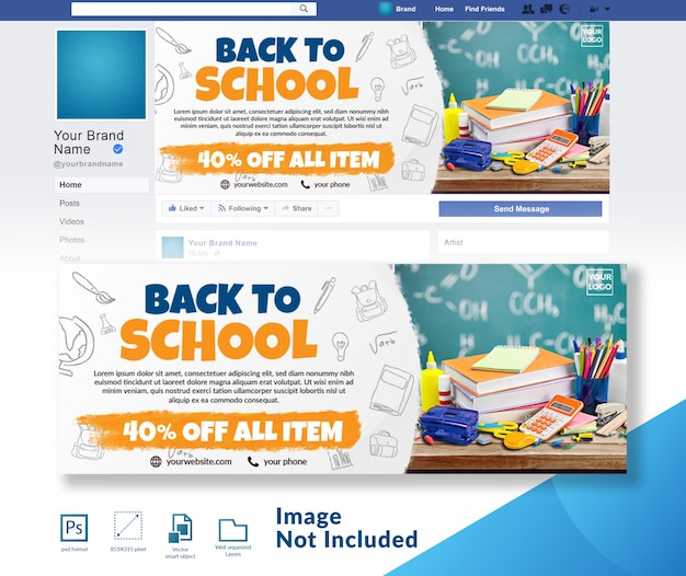 Volver a la plantilla de banner de portada de banner social de escuela PSD Premium